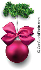Christmas ball on fir twigs. - Magenta realistic christmas...