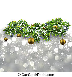 Silver background with fir branches.