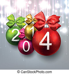 2014 christmas balls on bright background - 2014 colorful...