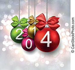2014 christmas balls on bright background. - 2014 colorful...