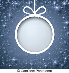 Christmas paper ball on blue background. - Christmas paper...