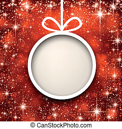 Christmas paper ball on red background. - Christmas paper...