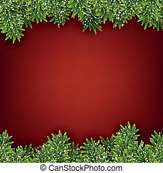 Fir red christmas frame - Detailed red frame with fir twigs...