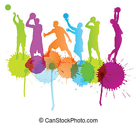 Basketball players vector abstract background with color splashe