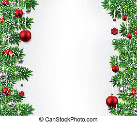 Christmas background with fir branches and balls - Christmas...