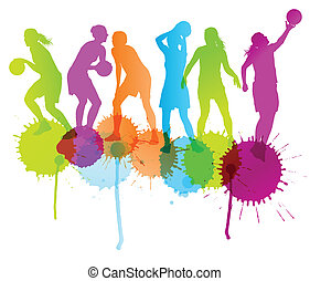 Basketball players vector abstract background with color...