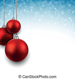 Blue background with christmas balls. - Blue christmas...