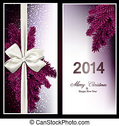 Christmas gift cards with fir branches and baw - Magenta...