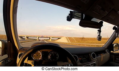 Travel on highway along the field