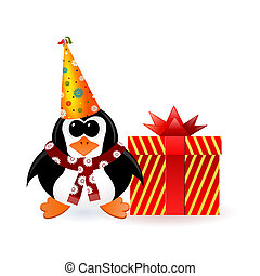 Cheerful penguin in a party cap