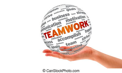 Teamwork Word Sphere - A person holding a 3d teamwork Sphere