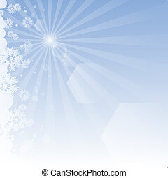 Winter background with rays