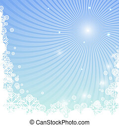 Winter background with snowflakes and curved beams