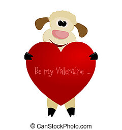Cute lamb with a heart on a white background - greeting card with Valentine's Day