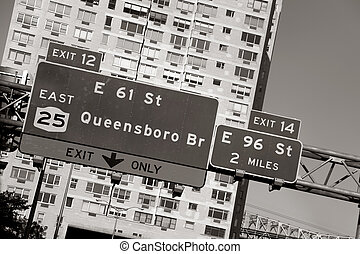 Queensboro bridge sign - Parkway sign for Queensboro bridge...