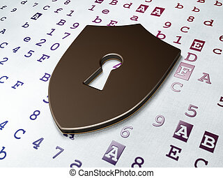 Security concept: Shield With Keyhole on Hexadecimal Code...