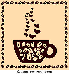 cup of coffee with hearts and beans