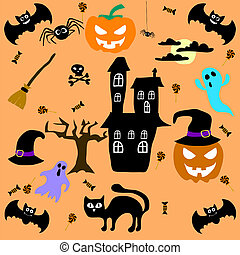 Set of Halloween elements. Vector