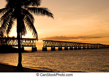 Bahia Honda state park - Ruins of old railroad bridge in...