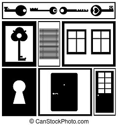 Keys, doors and windows. Vector illustration