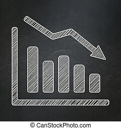 Advertising concept: Decline Graph on chalkboard background...