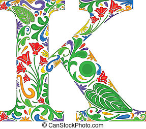 Floral K - Colorful floral initial capital letter K