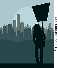 Protester landscape background vector for poster