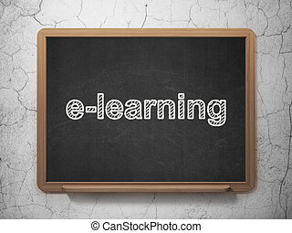 Education concept: E-learning on chalkboard background -...