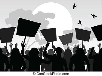 Protesters crowd landscape background vector - Protesters...