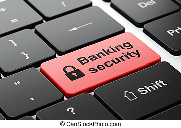 Protection concept: Closed Padlock and Banking Security on computer keyboard background