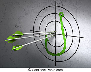 Success safety concept: arrows hitting the center of Green Fishing Hook target on wall background, 3d render