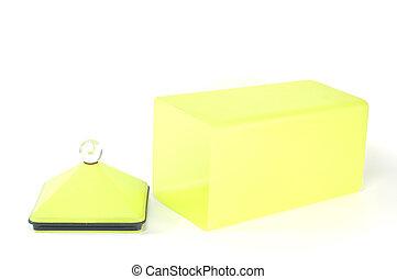caja, contenedor,  isolat, amarillo, plástico