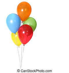 5 Birthday Celebration Balloons Isolated on White Background