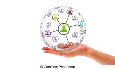 3D Friends Network Sphere - A person holding a 3D Friends...