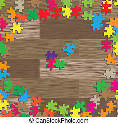 Colorful jigsaw puzzle vector background for poster