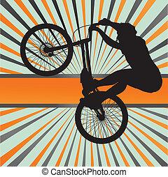 Mountain biking burst vector background for poster