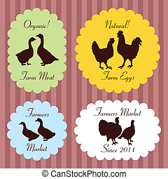 Colorful organic farmers market food labels frames and...