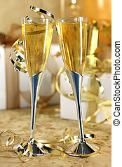 Golden Champagne Celebration With Bubbly and Gifts
