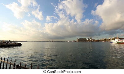 time lapse urban transport by sea in front Haydarpasha Port