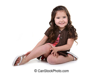 Charming Brown Eyed Toddler Girl on White Background -...