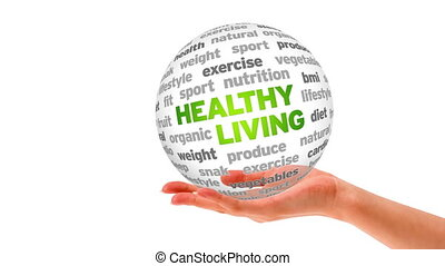 Healthy Living Word Sphere - A person holding a 3D Healthy...