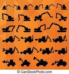 Excavator detailed editable silhouettes illustration...