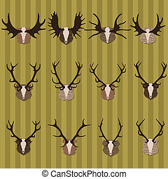 Deer and moose horns hunting trophy and coat of arms shields illustration collection background vector