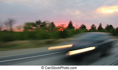Driving on a highway outside the city