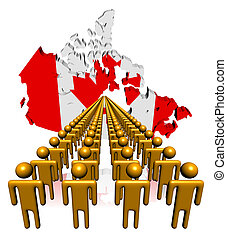 Lines of people with Canada map flag illustration