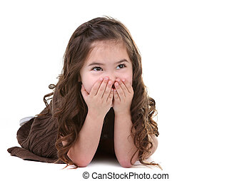 Laughing Young Child Looking Up at Copy Space For Your Text