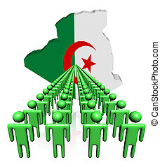 Lines of people with Algeria map flag illustration