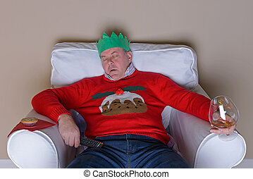 Dad asleep in a chair on Christmas Day - A Christmas...
