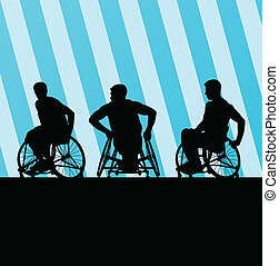 Disabled person in wheelchair vector background concept