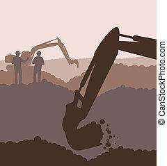 excavateur, Chargeur, construction, site, vecteur